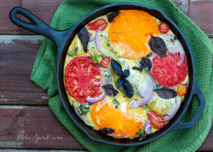 Paleo Breakfast Ideas - Bacon and Heirloom Tomato Frittata with Basil