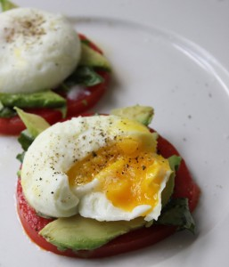 Paleo Breakfast Ideas - Poached Eggs Tomato, Avocado Basil