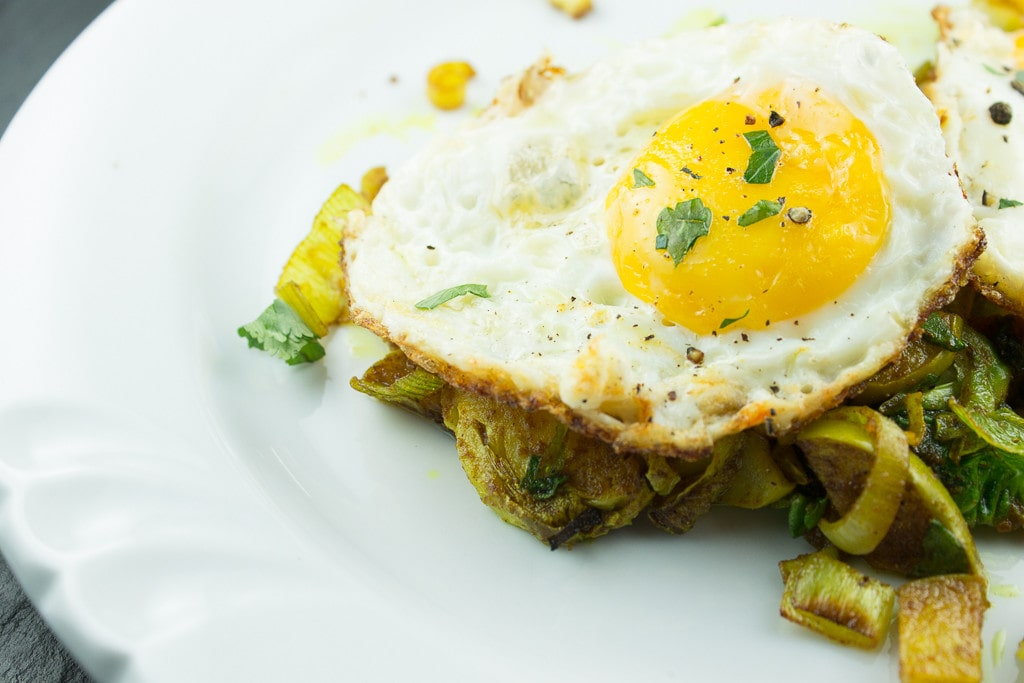 Curried Vegetable Skillet with Fried Eggs