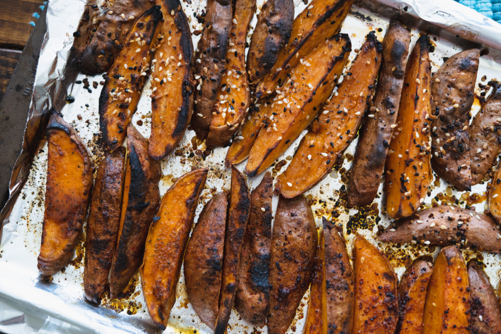 roasted sweet potatoes on baking sheet