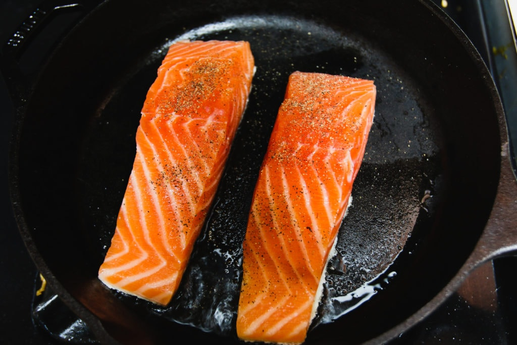 salmon on cast iron skillet
