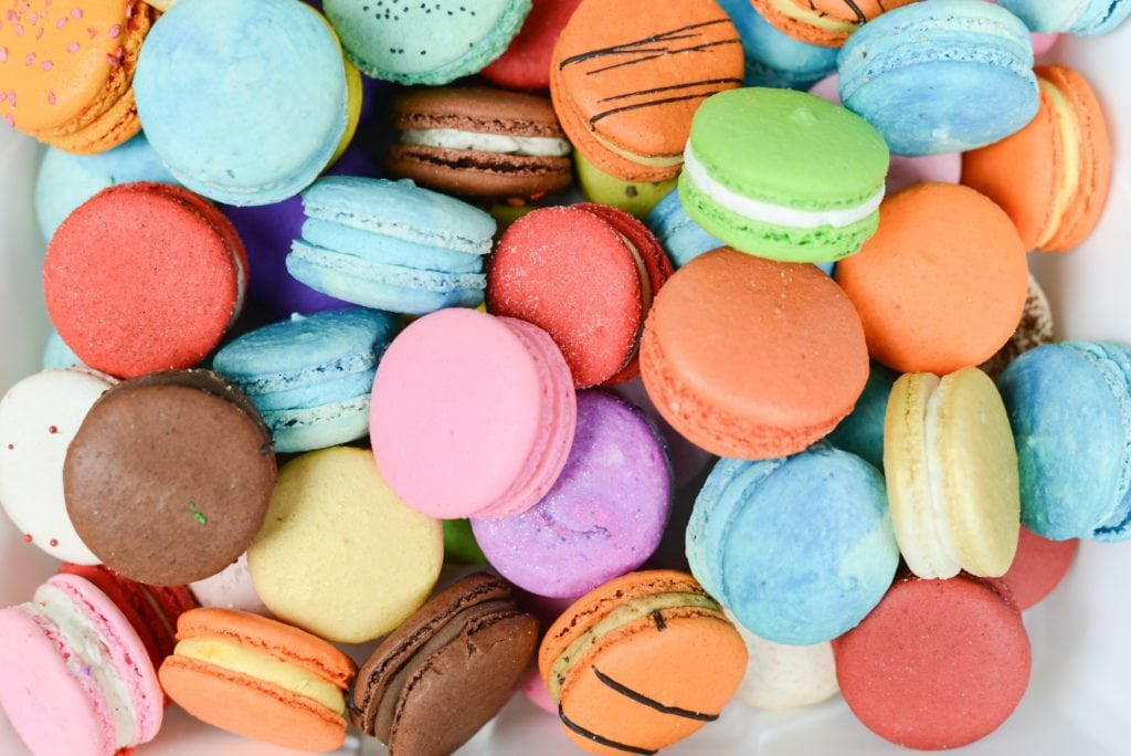 rainbow colorful macarons