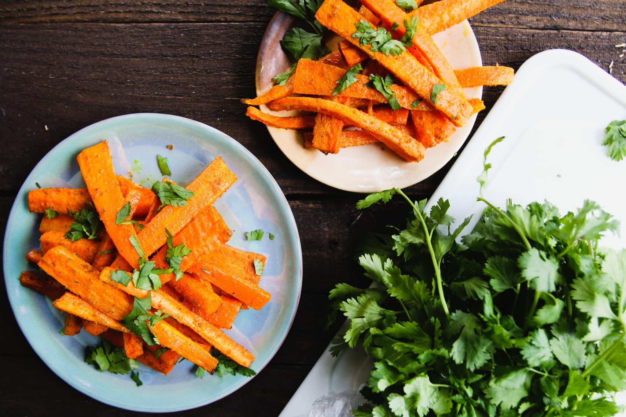 curried carrot fries on plate