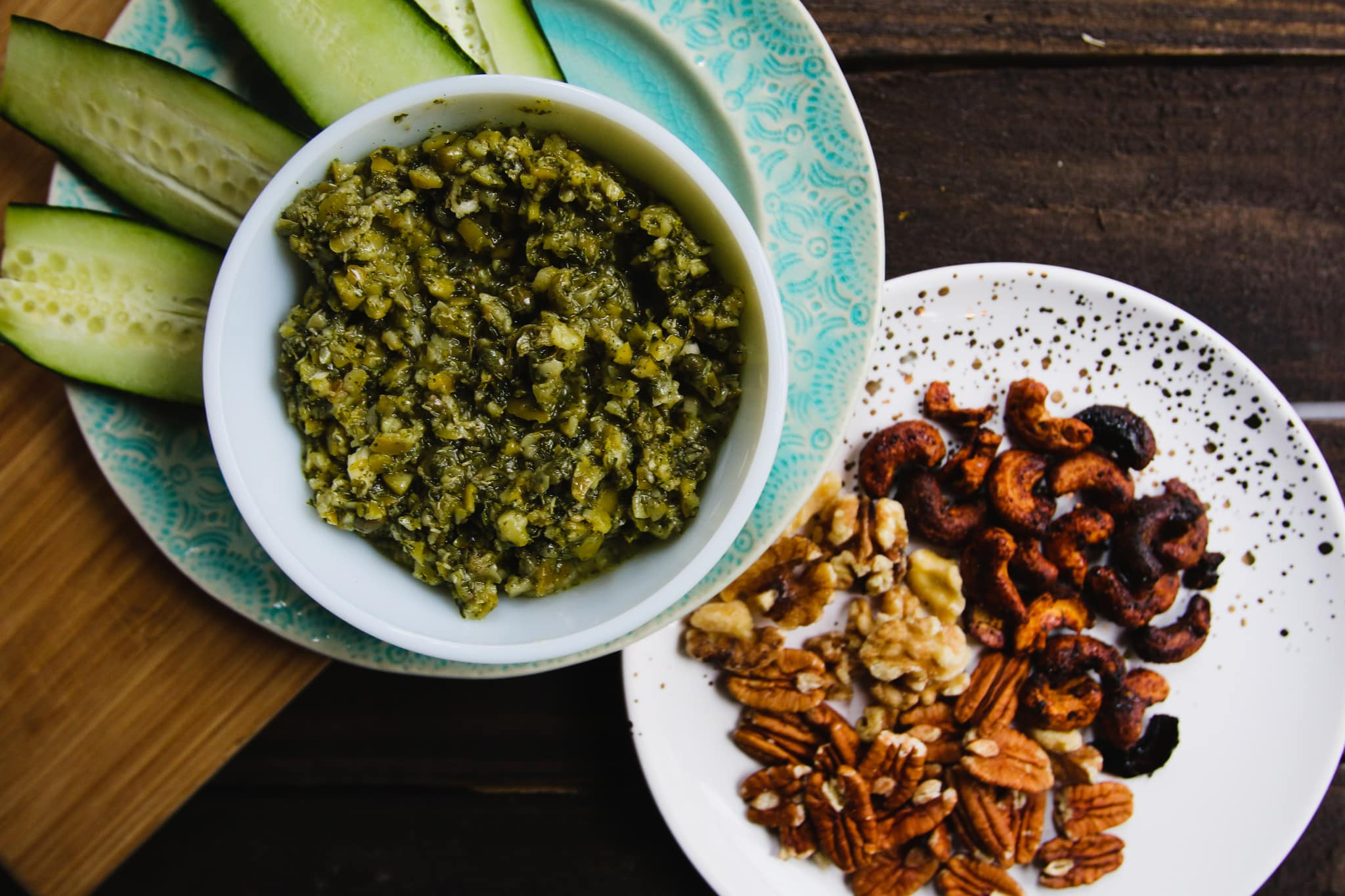 olive tapenade cucumbers nuts