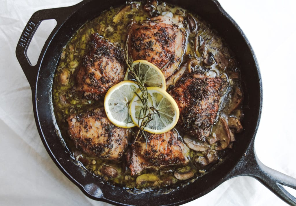 garlic herb chicken cast iron skillet