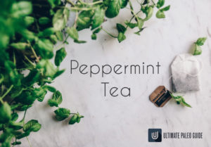 peppermint plant with tea bag