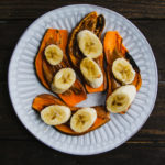 almond butter and bananas on sweet potato toast