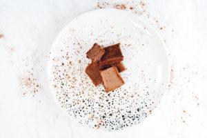 chocolate coconut fudge on plate