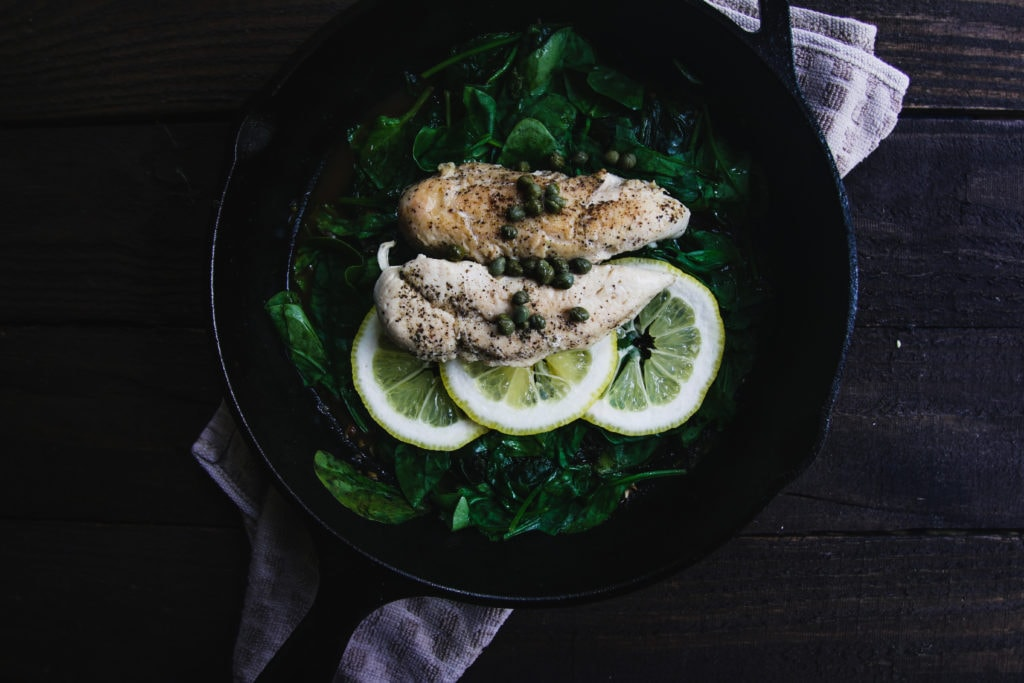 lemon caper chicken garlic spinach cast iron skillet