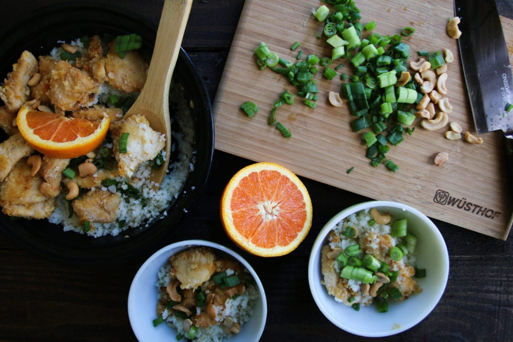 cashew orange chicken green onions cauliflower rice ingredients