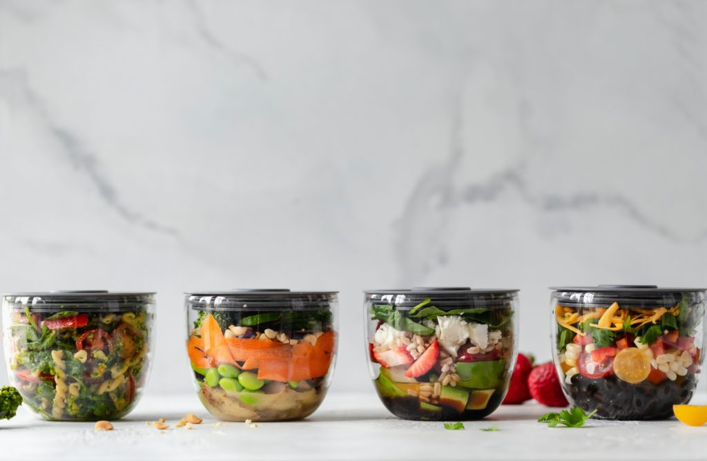 different meal prep lunches on counter