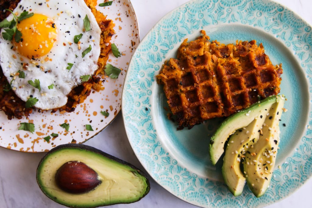 sweet potato waffles with eggs and avocado