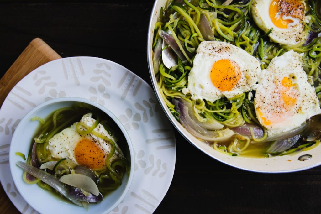 zucchini noodles with onions and eggs