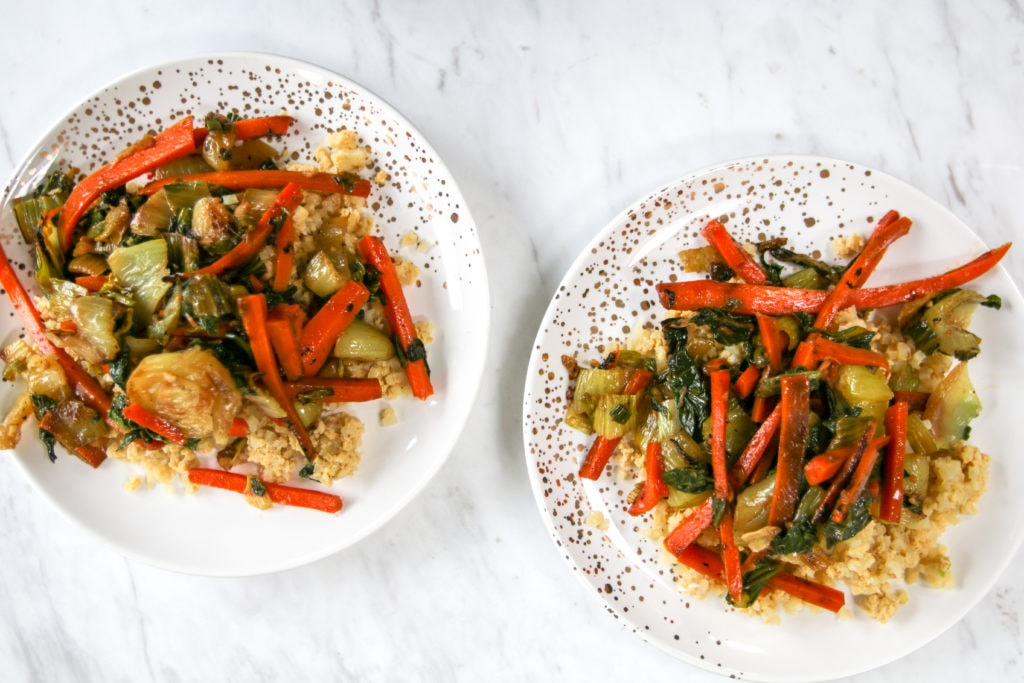 breakfast stir fry on plates