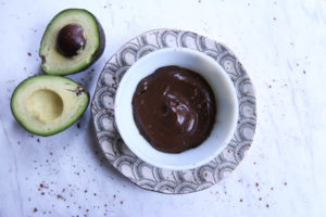 chocolate avocado mousse in decorative bowl