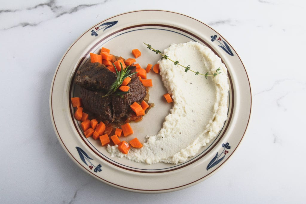 braised short ribs and garlic rosemary mashed cauliflower