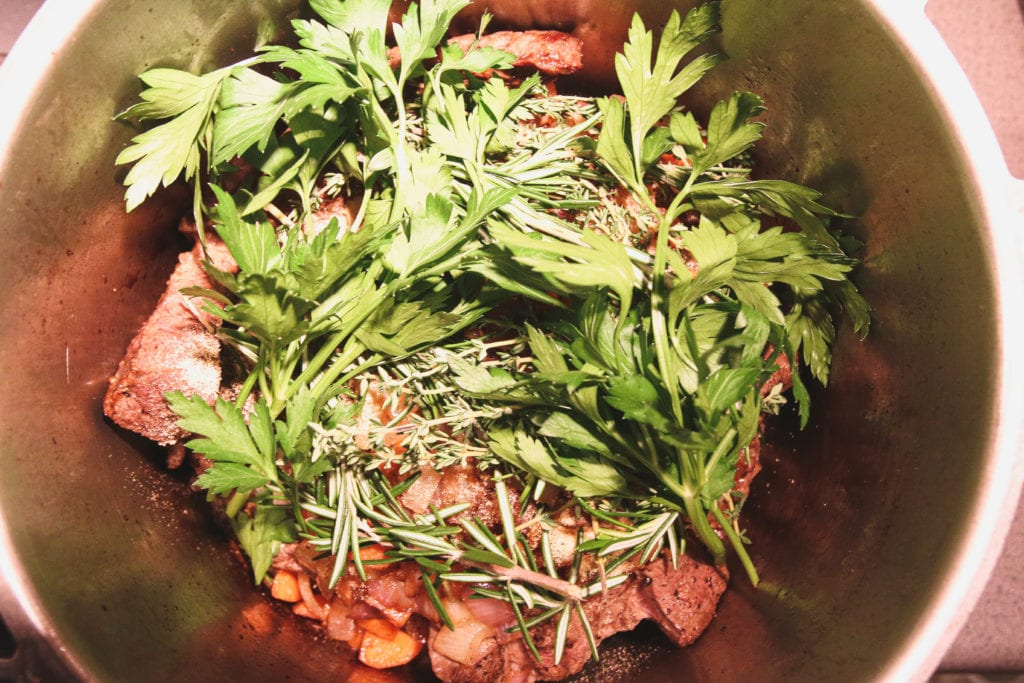 braised short ribs with herbs