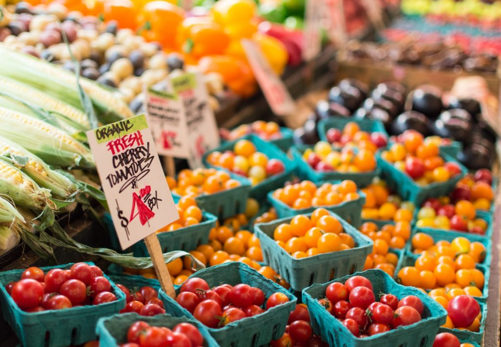 fresh cherry tomatoes at farmers market