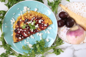 root vegetable omelet on blue plate