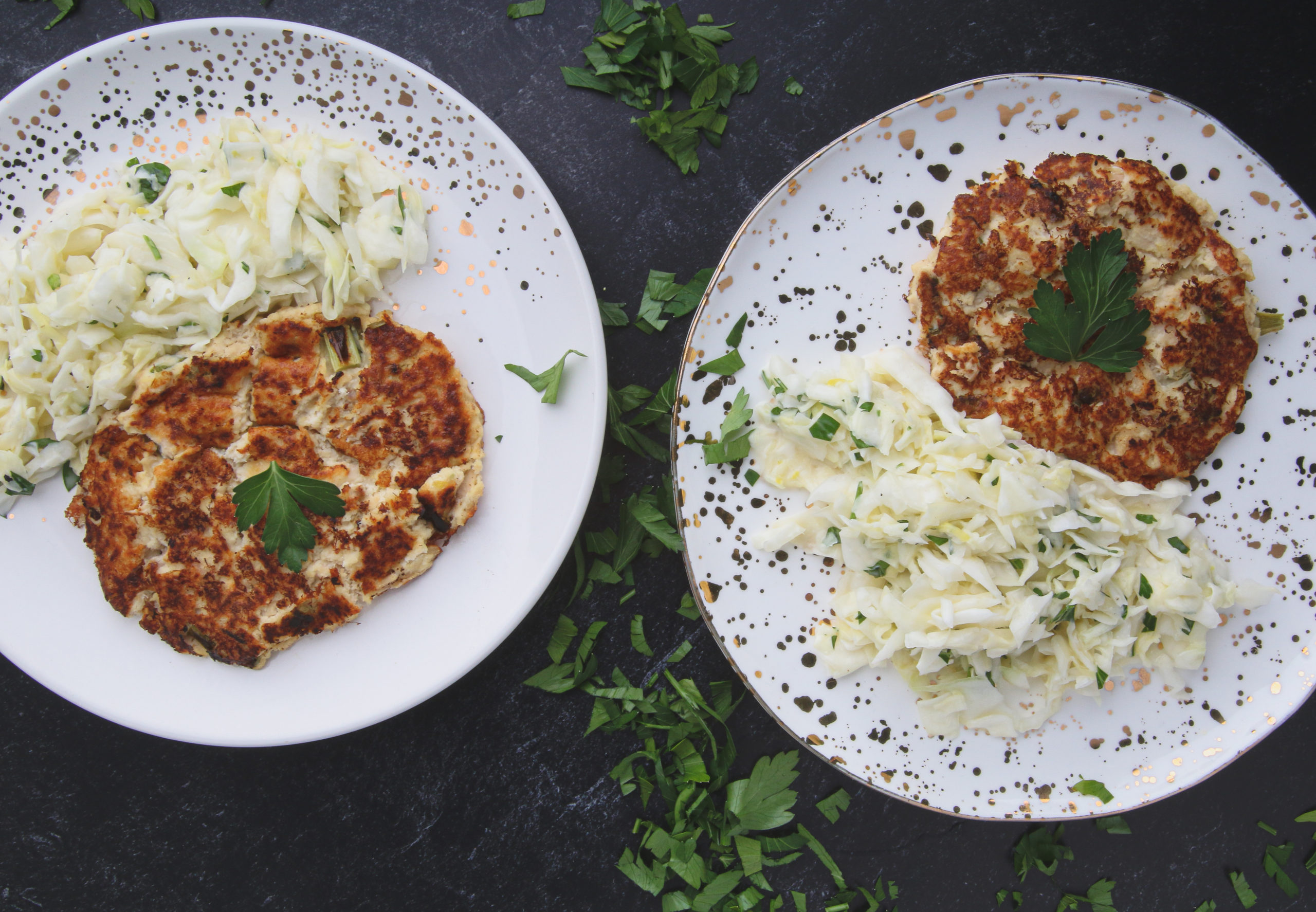 tuna cakes with lemon parsley slaw