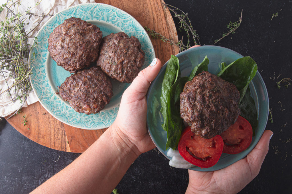 bunless burgers on plate