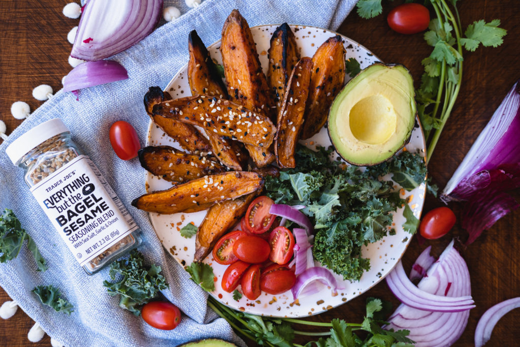 sweet potato fries avocado tomatoes