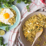 eggs and cauliflower rice on plate